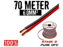 6mm² OFC Højttalerkabel, 70 mtr