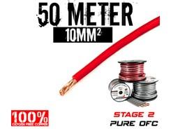 10mm² OFC Strømkabel, Rød, 50 mtr
