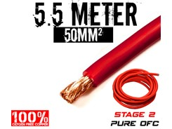 50mm² OFC Strømkabel, Rød, 5.5 mtr