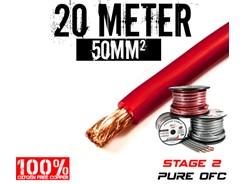 50mm² OFC Strømkabel, Rød, 20 mtr