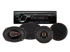 1DIN Autoradio m. 2 sæt højttalere